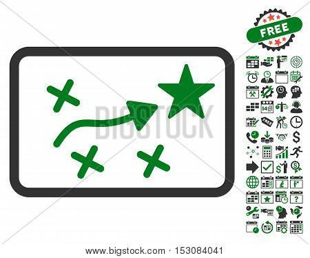 Route Plan pictograph with bonus calendar and time service pictograph collection. Glyph illustration style is flat iconic symbols, green and gray colors, white background.