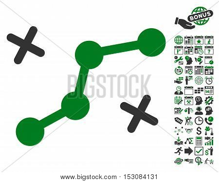 Route Points icon with bonus calendar and time management pictograms. Glyph illustration style is flat iconic symbols, green and gray colors, white background.