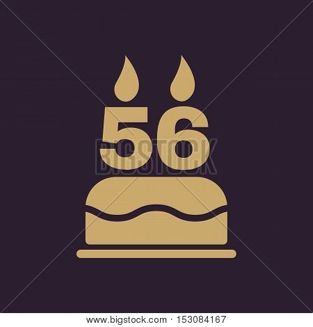 The birthday cake with candles in the form of number 56 icon. Birthday symbol. Flat Vector illustration
