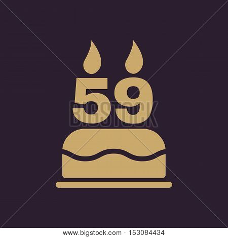The birthday cake with candles in the form of number 59 icon. Birthday symbol. Flat Vector illustration
