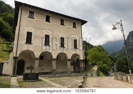 Prosto (Valchiavenna Sondrio Italy): historic palace near Chiavenna along the bicycle path