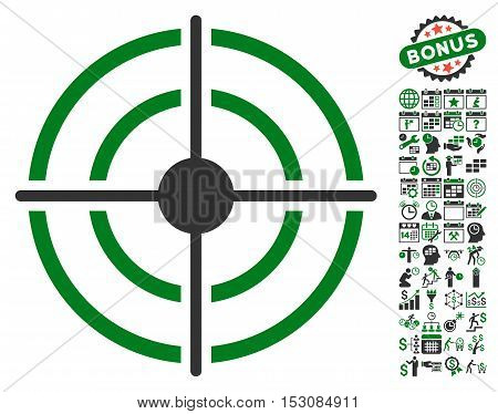 Target icon with bonus calendar and time service graphic icons. Glyph illustration style is flat iconic symbols, green and gray colors, white background.