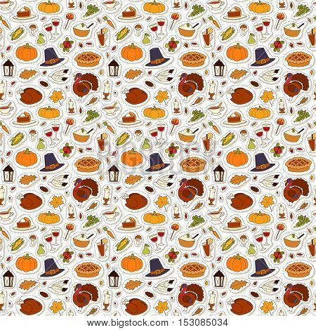 Happy Thanksgiving Day seamless pattern vector.