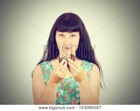 Young Woman Craving Sweets Chocolate, Marshmallow