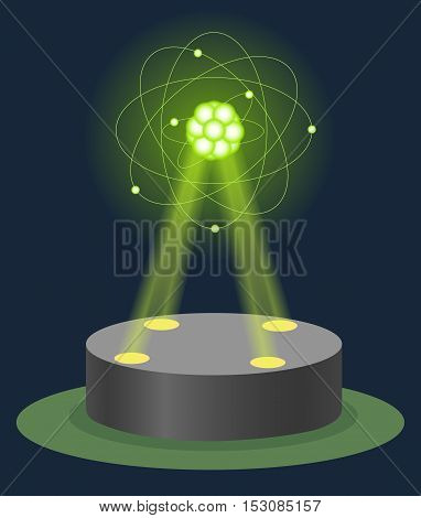 Innovation museum carbon atom structure hologram on illuminated pedestal. Future technology physics and chemistry lesson education. Virtual show vector illustration