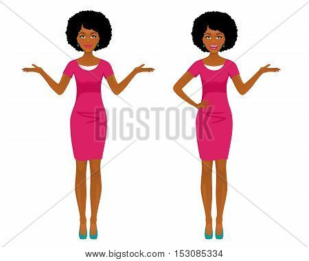 Sexy Afro American Business Woman In Two Poses: Pointing And Spreading Her Hands With Smile. Vector