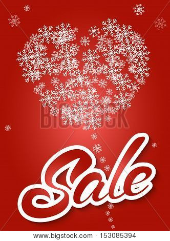 Sale banner on red background with snowflake heart. Lettering winter sale. Sale vector. Sale new year poster.