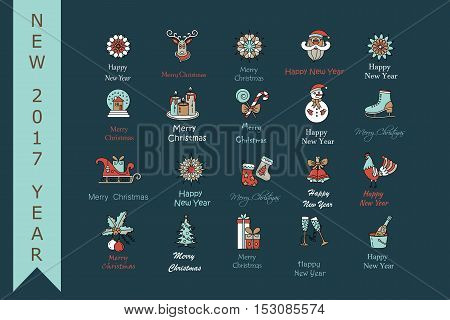 Christmas thin line icons set. Modern icons for New Year 2017 with winter and year symbols - snowflake, Santa, reindeer sleigh, champagne, ice skating, gifts, rooster, etc.