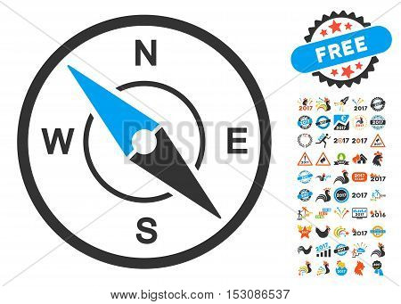Compass icon with bonus 2017 new year symbols. Glyph illustration style is flat iconic symbols, blue and gray colors, white background.