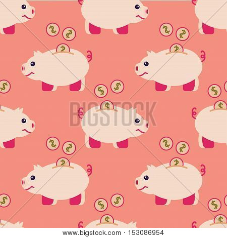 Seamless pattern of piggy bank and coins in trendy flat design.