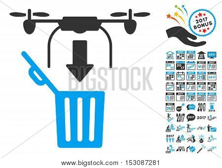 Drone Drop Trash pictograph with bonus 2017 new year images. Glyph illustration style is flat iconic symbols, blue and gray colors, white background.