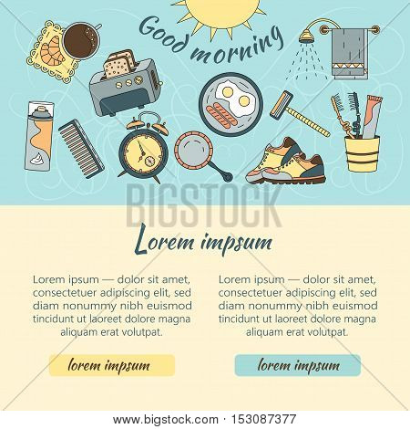Good morning vector web template with modern symbols of good start to the day - breakfast, coffee, sports, hygiene
