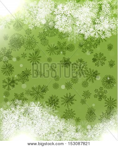 Background green for greeting cards with snowflakes and abstract pattern.