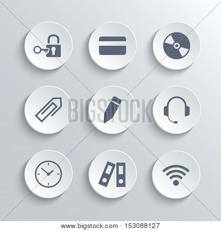 Office icons set - vector white round buttons with lock key credit card disk clip pen headphones clock folder wi-fi zone