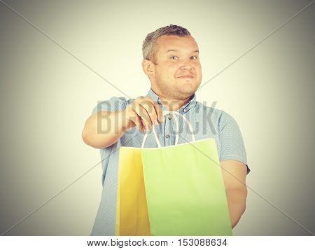 Caucasian Man Fat,  With Colorful Shopping Paper Bags