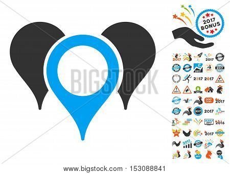 Map Pointers icon with bonus 2017 new year graphic icons. Glyph illustration style is flat iconic symbols, blue and gray colors, white background.