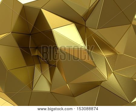 Abstract gold surface. Futuristic background with low poly shapes. 3D rendering