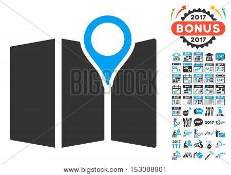 Map pictograph with bonus 2017 new year symbols. Glyph illustration style is flat iconic symbols, blue and gray colors, white background.