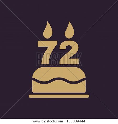 The birthday cake with candles in the form of number 72 icon. Birthday symbol. Flat Vector illustration