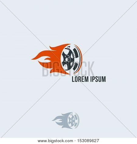 Car Wheel In Fire Flame. Vector Logo Design. Template.