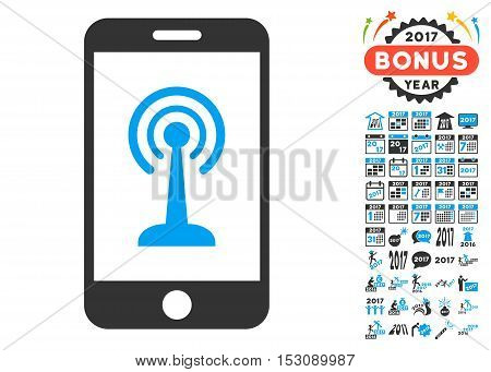 Radio Control Smartphone pictograph with bonus 2017 new year clip art. Glyph illustration style is flat iconic symbols, blue and gray colors, white background.