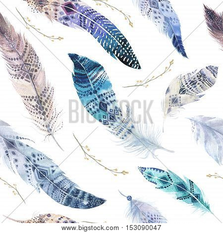 Feathers pattern. Watercolor elegant background. Watercolour color organic design print. Seamless repeating colour boho texture with hand drawn chic wallpaper. Bird illustration.