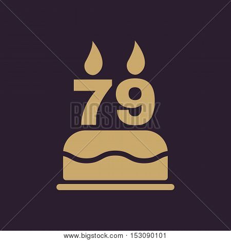 The birthday cake with candles in the form of number 79 icon. Birthday symbol. Flat Vector illustration