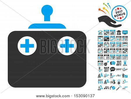 Remote Control pictograph with bonus 2017 new year design elements. Glyph illustration style is flat iconic symbols, blue and gray colors, white background.