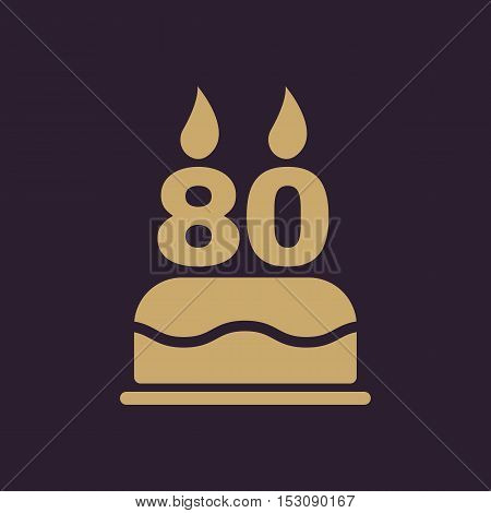 The birthday cake with candles in the form of number 80 icon. Birthday symbol. Flat Vector illustration