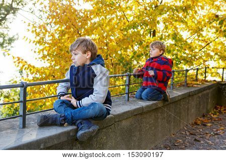 Two little brothers boys with yellow in autumn leaves in colorful clothes. Happy siblings kids having fun in autumn forest or park on warm fall day