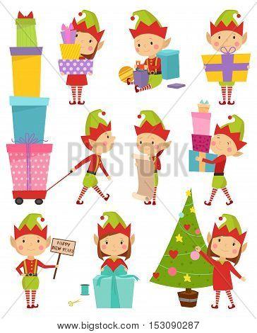 Santa Claus kids cartoon elf helpers vector illustration. Santa Claus elf helpers children. Santa helpers traditional costume. Santa family elfs isolated. Santa Claus elf kids