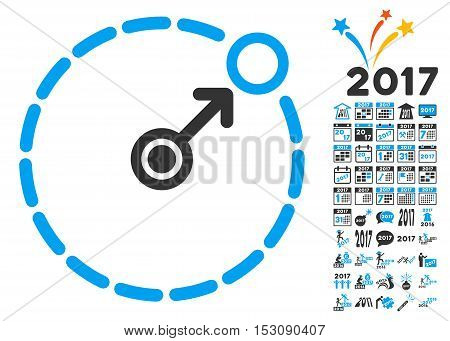 Round Area Border pictograph with bonus 2017 new year images. Glyph illustration style is flat iconic symbols, blue and gray colors, white background.
