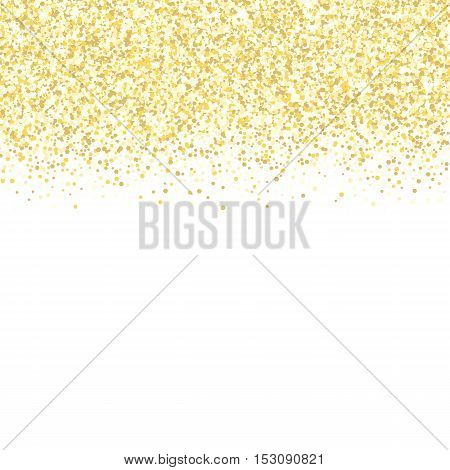 Gold glitter background. Golden sparkles on white background. Vector illustration.