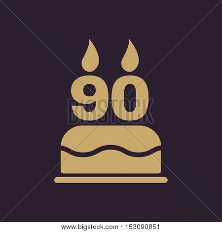 The birthday cake with candles in the form of number 90 icon. Birthday symbol. Flat Vector illustration