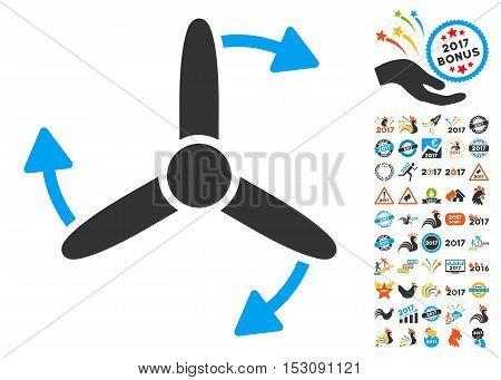 Three Bladed Screw Rotation icon with bonus 2017 new year design elements. Glyph illustration style is flat iconic symbols, blue and gray colors, white background.