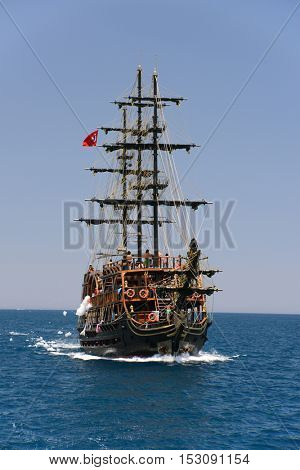 Travel on a yacht near Kemer, Turkey
