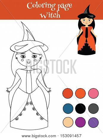 Coloring page for children with in halloween witch costume. Drawing activity educational game printable worksheet for kids