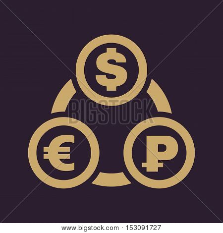 The currency exchange dollar, euro, ruble icon. Cash and money, wealth, payment symbol. Flat Vector illustration