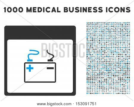 Blue And Gray Accumulator Calendar Page glyph icon with 1000 medical business pictograms. Set style is flat bicolor symbols, blue and gray colors, white background.