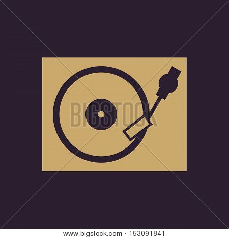 The turntable icon. DJ and gramophone, player, music symbol. Flat Vector illustration