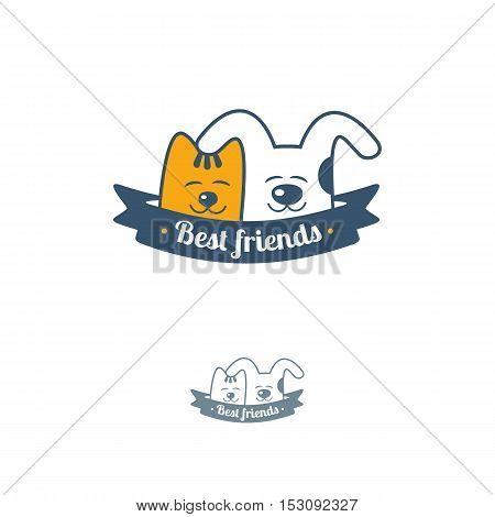 Funny cat and dog with ribbon. Vector logo template.