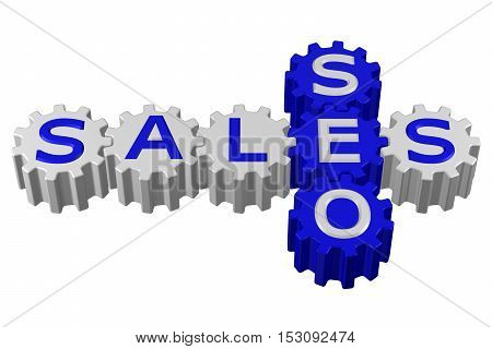Concept: SEO and Sales isolated on white background. 3D rendering.