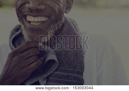 African Senior Man Exercise Park Outdoors Concept