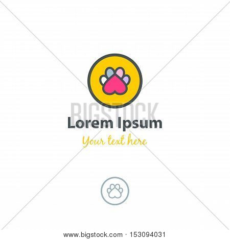Pets Logo. Colorful Paw Of A Pet In The Form Of An Inverted Heart In A Circle.