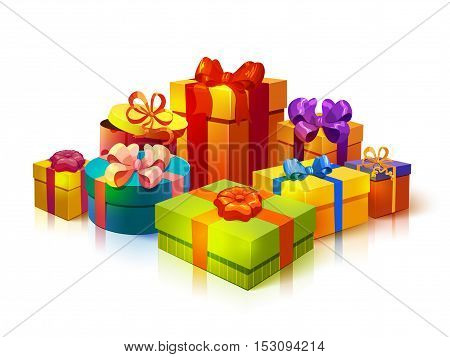 Composition with colorful rectangular gift boxes of different size and colour tied with ribbon bowknots vector illustration