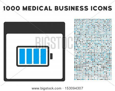 Blue And Gray Battery Calendar Page glyph icon with 1000 medical business pictograms. Set style is flat bicolor symbols, blue and gray colors, white background.