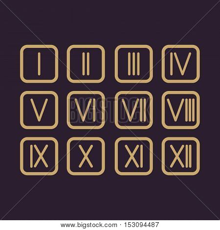 The set Roman numerals 1-12 icon. vector