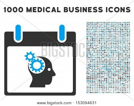Blue And Gray Brain Gears Calendar Day glyph icon with 1000 medical business pictograms. Set style is flat bicolor symbols, blue and gray colors, white background.