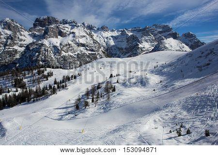 Snowy ski slopes in snowy mountain landscape