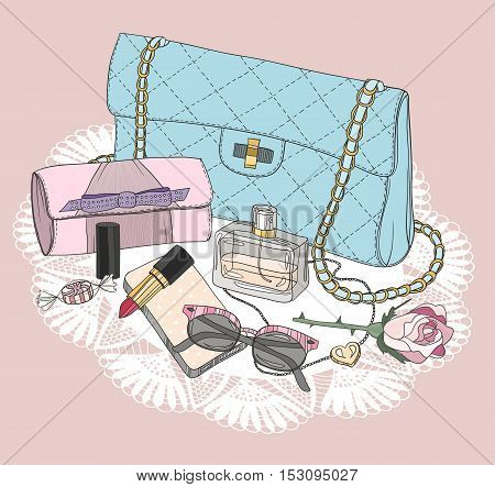 Fashion essentials. Background with bag sunglasses shoes jewelery perfume makeup and flowers.